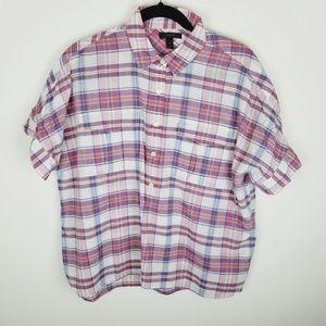 J Crew short sleeve button up plaid collar shirt